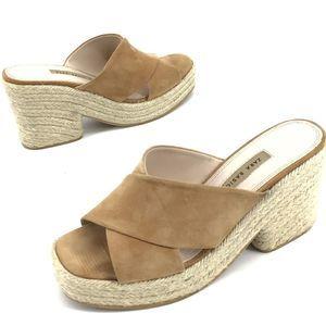 Zara Cross over slip on mules wedges tan
